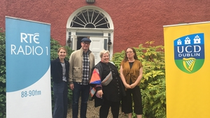 Series Producer Clíodhna Ní Anluain, playwright Darren Murphy, contributing lecturer Róise Goan and series host Dr Ellen Rowley at Glebe House, Co Donegal