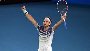 Dominic Thiem celebrating his win