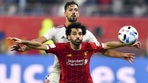 Mohamed Salah vies with Pablo Mari during the 2019 Club World Cup final