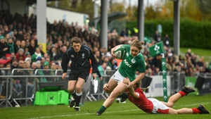 Kathryn Dane is tackled by Paige Randall during the Ireland vs Wales match in Dublin in November 2019