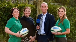 Presenters Daire O'Brien and Fiona Coghlan with Ireland players Lindsay Peat, left, and Eimear Considine in attendance during the launch of RTÉ's Six Nations coverage