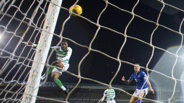 Celtic's Olivier Ntcham heads in the opener against St Johnstone