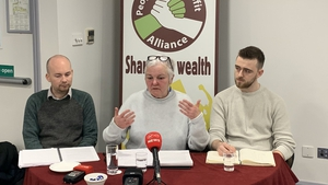 Brid Smith (centre) with RISE leader Paul Murphy (left) and PBP candidate Conor Reddy (right)
