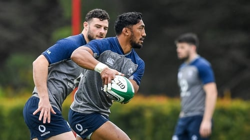 Bundee Aki, right, and Robbie Henshaw during Ireland Rugby squad training