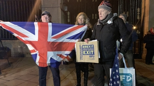 Brexit supporters gathered outside Stormont Gates last night