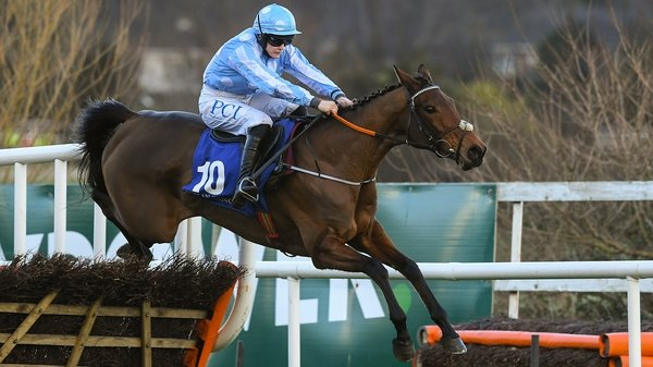 Honeysuckle, with Rachael Blackmore up, jumps the last on their way to winning the PCI Irish Champion Hurdle
