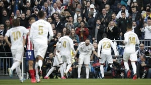 Karim Benzema netted for the first time in a Madrid derby at the Bernabeu in what was to be the only goal of the contest