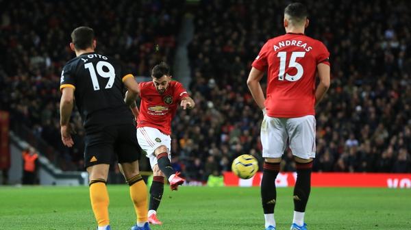Bruno Fernandes takes the shot on against Wolves