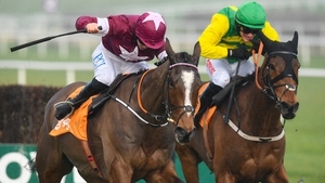 The hooded Cash Back chased Notebook home at Leopardstown on Saturday