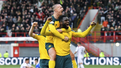 Odsonne Edouard and Leigh Griffiths celebrate a big win for Celtic
