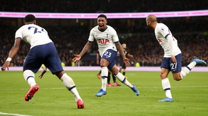 Steven Bergwijn celebrates a debut goal for Tottenham