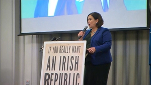 Mary Lou McDonald was speaking at a rally in Letterkenny, Donegal, this evening