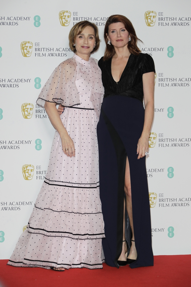 Dame Kristin Scott Thomas and Sharon Horgan pose in the Winners Room at the EE British Academy Film Awards 2020