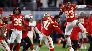 Kansas City players react to their victory over San Francisco