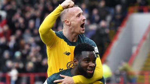 Odsonne Edouard and Leigh Griffiths celebrate against Hamilton