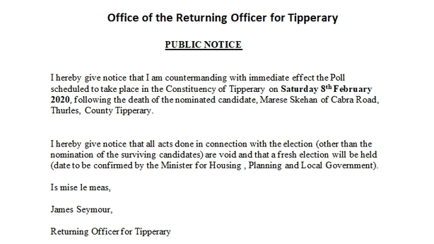 Notice from Tipperary returning officer