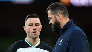 Head coach Andy Farrell with John Cooney prior to Ireland v Scotland