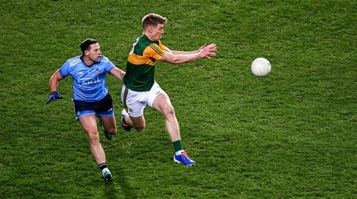 Dublin's Philly McMahon challenges Tommy Walsh of Kerry in this year's Allianz Football League encounter