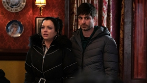 "Tom Wells as Leo with Shona McGarty as Whitney - ""From his point of view as well, he feels he's been duped by Whitney, which has thrown even more fuel on the fire. For Leo now, all bets are off, he'll get the 'truth' by any means"""