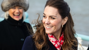 Never one to miss a theme, Kate Middleton looked loved up on today's trip to Mumbles in South Whales. Photo: Getty