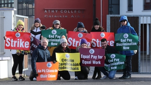 TUI members on strike at Athy College in Co Kildare