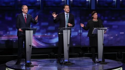 Mary Lou McDonald, Micheál Martin and Leo Varadkar taking part in the debate