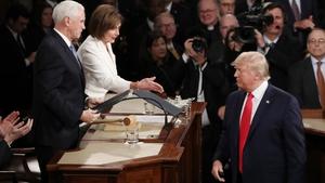 Donald Trump refused to shake hands with Nancy Pelosi