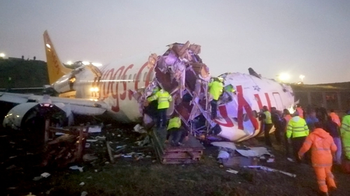 The plane split into three pieces after what has been described as a rough landing