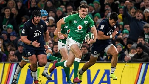 Jacob Stockdale in action during this season's Six Nations