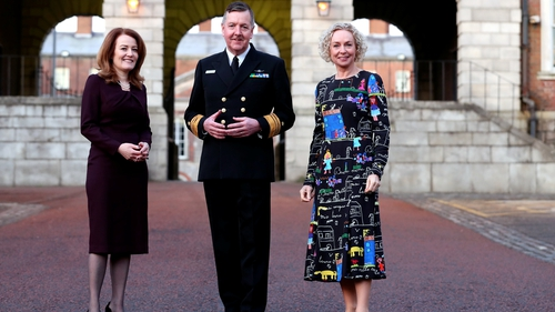 Rachel Hussey, Chair of 30% Club Ireland and partner with Arthur Cox, Vice Admiral Mark Mellett, Chief of Staff at the Irish Defence Forces and Anne O'Leary, CEO of Vodafone Ireland