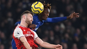 Shkodran Mustafi of Arsenal rises for a header with Chelsea's Tammy Abraham in a recent Premier League game