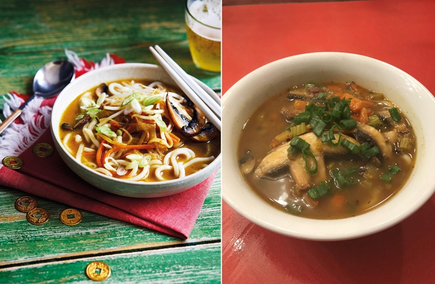 Left, Wan's udon noodle curry soup, right, Prudence's version (Quadrille/Sam Folan/Prudence Wade/PA)