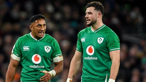 Bundee Aki and Robbie Henshaw (r) in action against Scotland