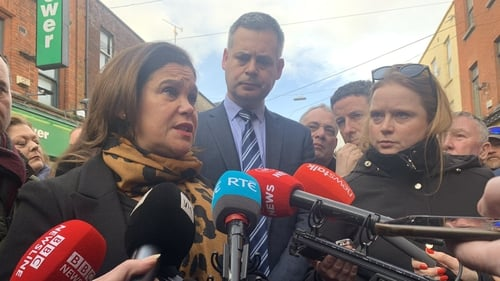 Mary Lou McDonald speaking to the media on the campaign trail in Dublin