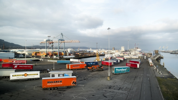 Containers at Belfast harbour, where goods arriving from Britain face customs and regulatory checks after Brexit