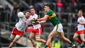 Sean O'Shea of Kerry and Tyrone's Mattie Donnelly during last year's league clash between the counties