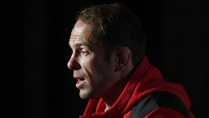 Wales captain Alun Wyn Jones speaks during the Guinness Six Nations Launch