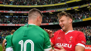 Dan Biggar of Wales, right, with Jonathan Sexton share a laugh in 2019's pre-World Cup encounter