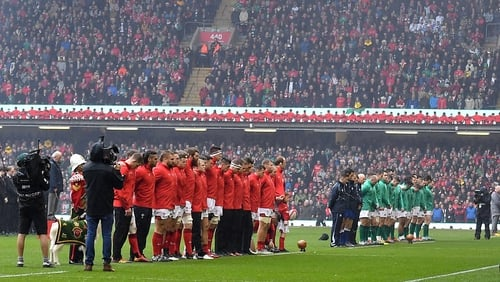 Wales and Ireland line up ahead of last season's clash in Cardiff
