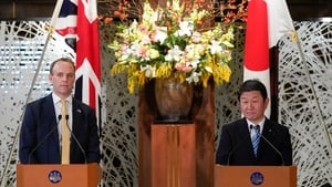 Britain's Foreign Secretary Dominic Raab and Japan's Minister for Foreign Affairs Motegi Toshimitsu
