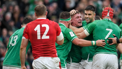 Tries from Jordan Larmour, Tadhg Furlong (c), Josh van der Flier and Andrew Conway led Ireland to victory