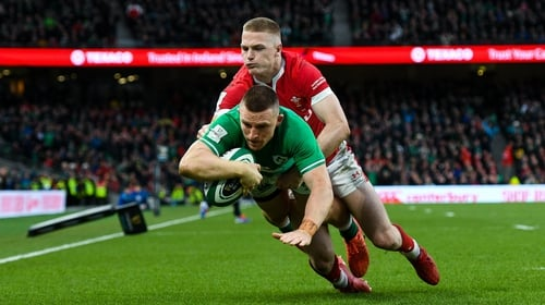 Andrew Conway scored Ireland's fourth try of the afternoon
