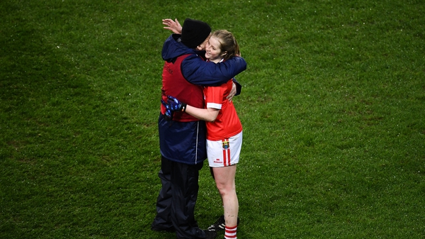 Róisín Phelan and Cork manager Ephie Fitzgerald celebrate at the final whistle