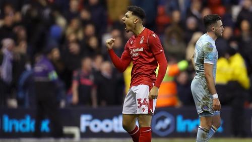 Tyler Walker celebrates after scoring his team's second goal