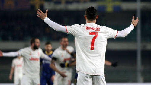 Juventus' Cristiano Ronaldo expresses disappointment during the Serie A match with Verona