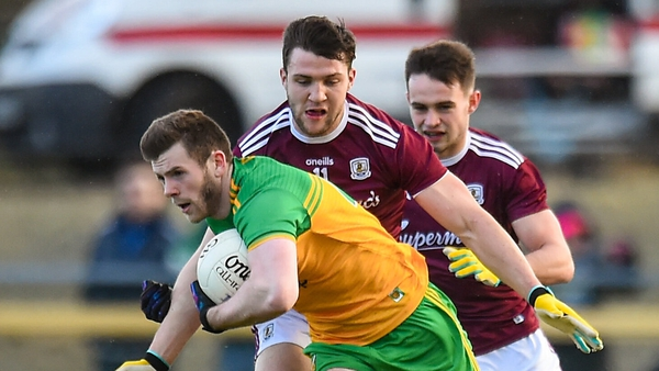 Eoghan Ban Gallagher breaks away from Galway's Damien Comer