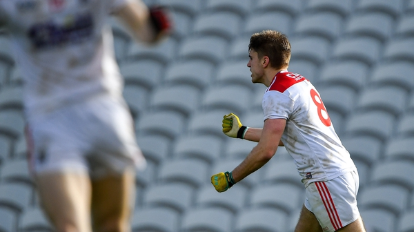 Ian Maguire celebrates scoring a point for Cork