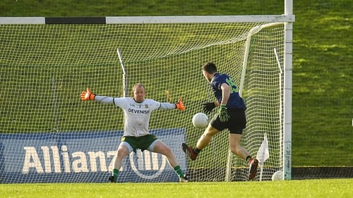 Kevin McLoughlin fires past Meath goalkeeper Marcus Brennan