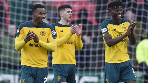 Celtic's Boli Bolingoli, Ryan Christie and Vakoun Issouf Bayo (L-R) at full time