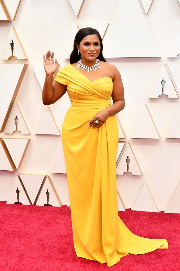 Mindy Kaling walking the Oscars 2020 red carpet